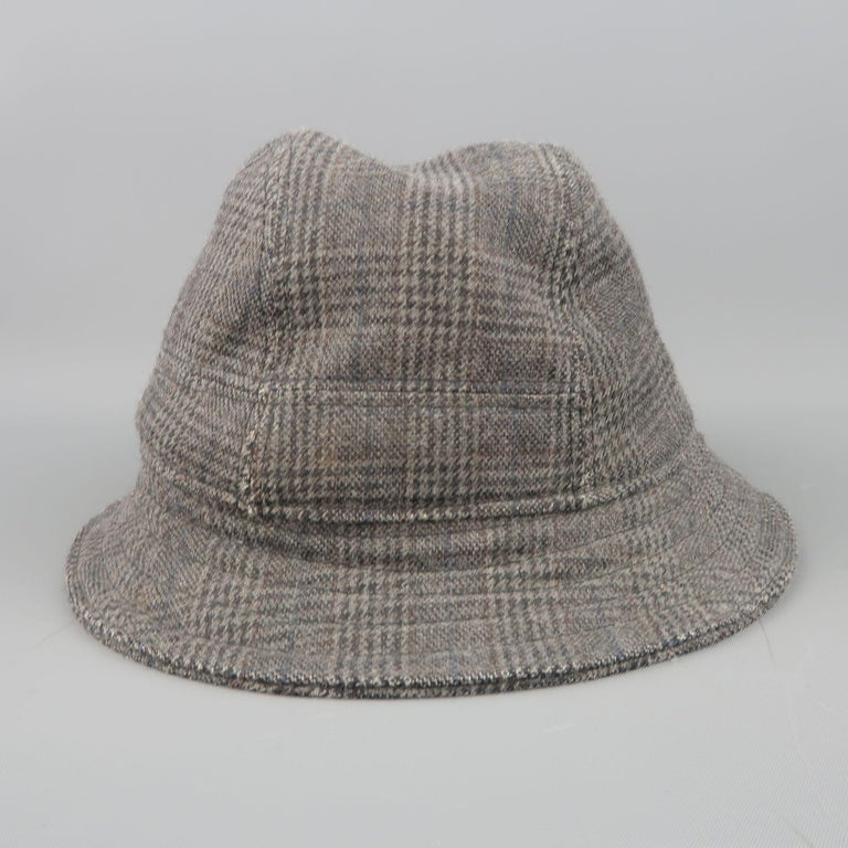 NEIL BARRETT Size M Gray Glenplaid Wool Blend Fedora Hat In Good Condition For Sale In San Francisco, CA