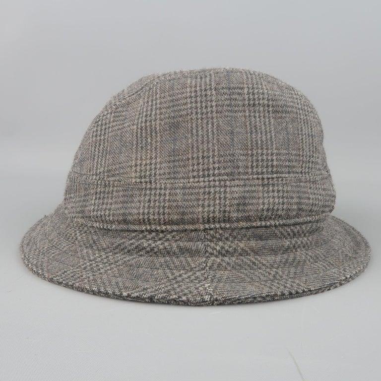 Men's NEIL BARRETT Size M Gray Glenplaid Wool Blend Fedora Hat For Sale