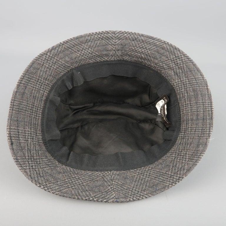 NEIL BARRETT Size M Gray Glenplaid Wool Blend Fedora Hat For Sale 1