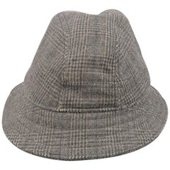 NEIL BARRETT Size M Gray Glenplaid Wool Blend Fedora Hat