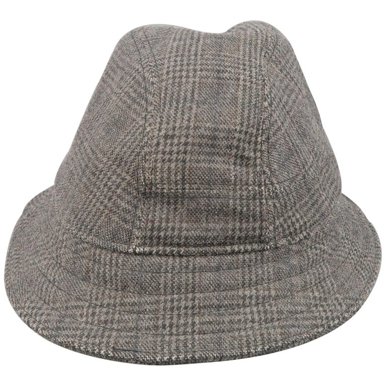 NEIL BARRETT Size M Gray Glenplaid Wool Blend Fedora Hat For Sale