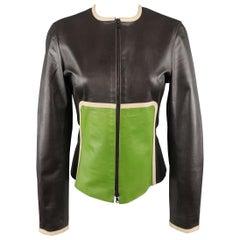 NEIL BARRETT Size S Brown Beige & Green Motorcycle Jacket