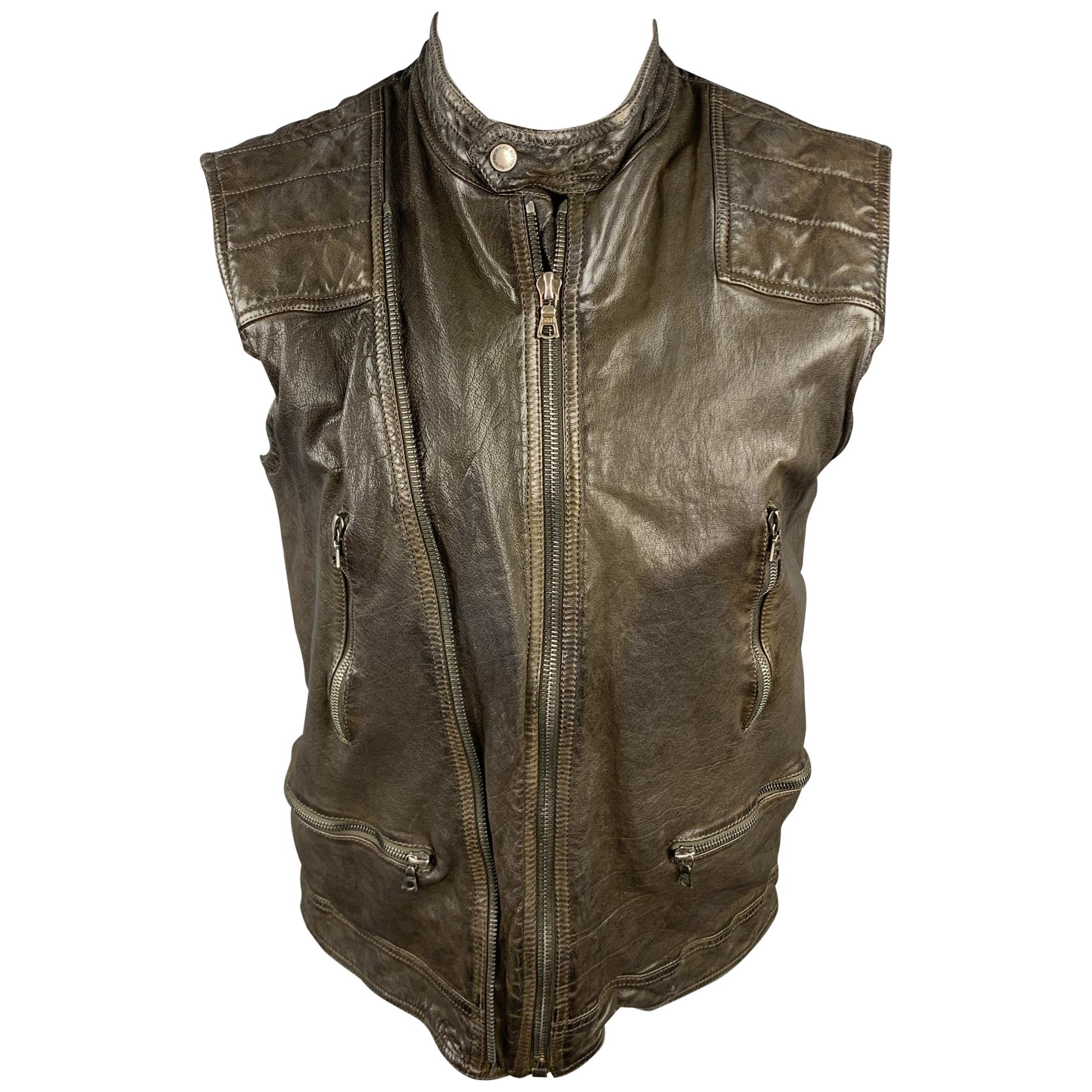 NEIL BARRETT Size S Brown 'Military' Camo Lining Distressed Leather Vest