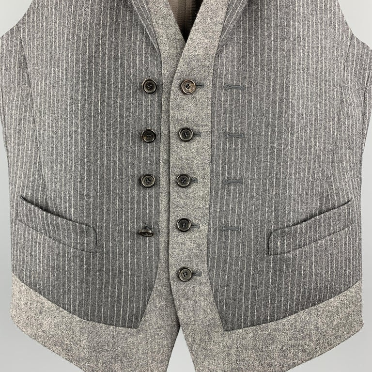 NEIL BARRETT Size S Gray Stripe Wool Notch Lapel Double Buttoned Vest In Excellent Condition In San Francisco, CA
