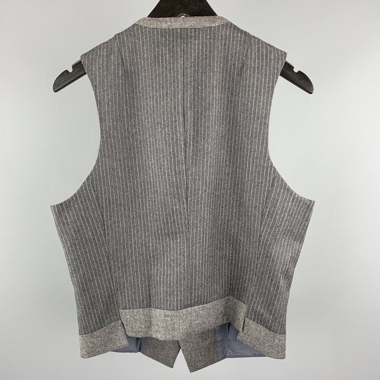 Men's NEIL BARRETT Size S Gray Stripe Wool Notch Lapel Double Buttoned Vest