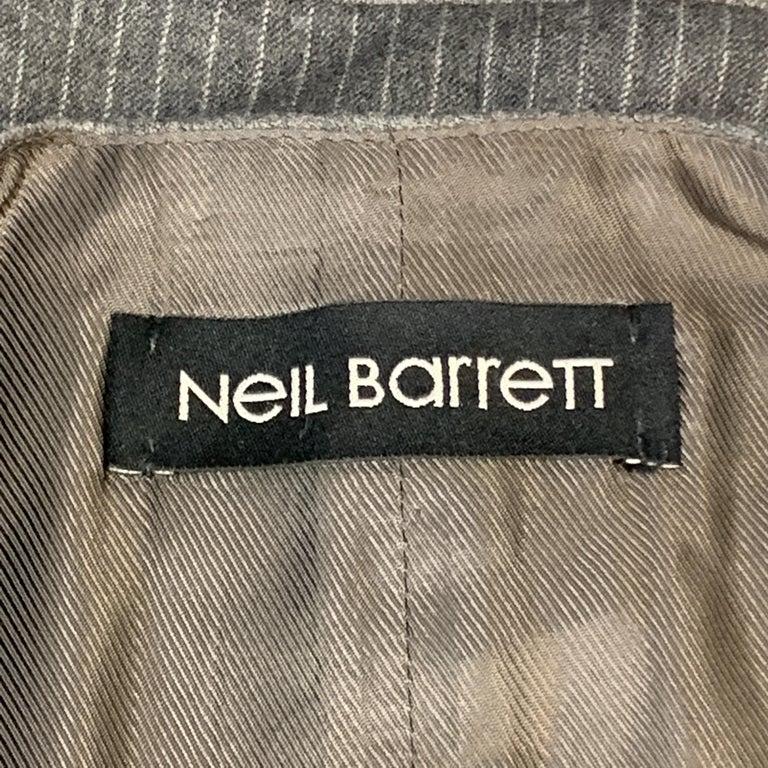 NEIL BARRETT Size S Gray Stripe Wool Notch Lapel Double Buttoned Vest 2