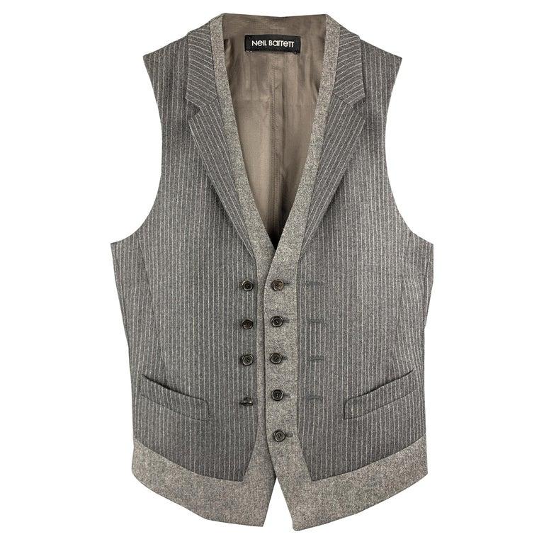 NEIL BARRETT Size S Gray Stripe Wool Notch Lapel Double Buttoned Vest