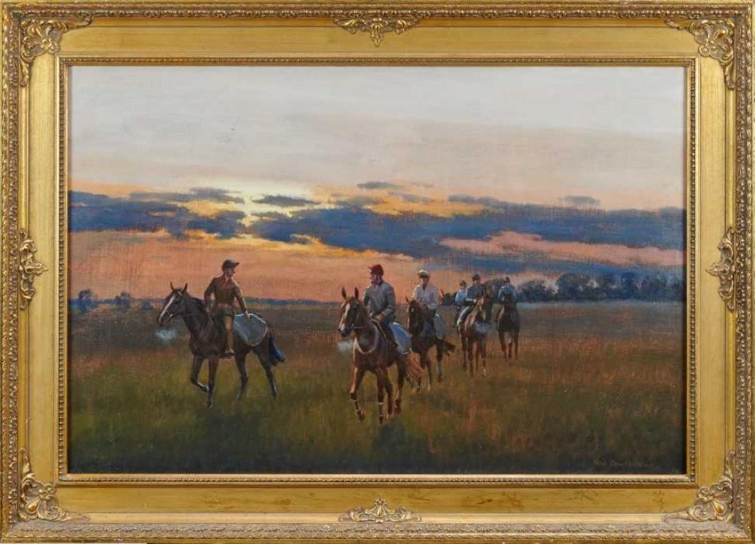 BRITISH SPORTING ART SIGNED LARGE OIL - HORSES & JOCKEYS RETURNING AT SUNSET