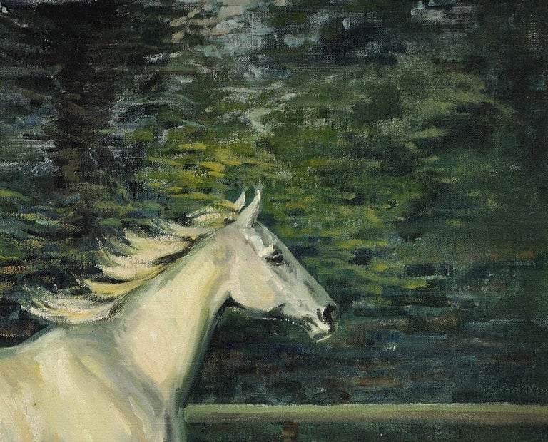 Grey Mare with Foal. Modern British Equestrian Artist. Original Horse Painting. For Sale 13