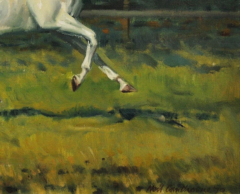 Grey Mare with Foal. Modern British Equestrian Artist. Original Horse Painting. For Sale 15