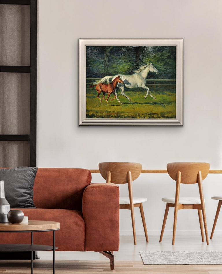 Grey Mare with Foal. Modern British Equestrian Artist. Original Horse Painting. For Sale 10