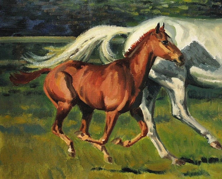 Grey Mare with Foal. Modern British Equestrian Artist. Original Horse Painting. For Sale 16