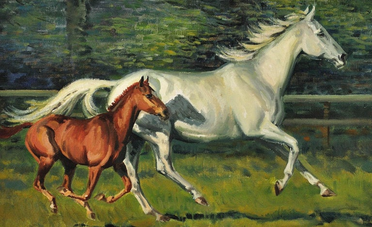 Grey Mare with Foal. Modern British Equestrian Artist. Original Horse Painting. For Sale 17