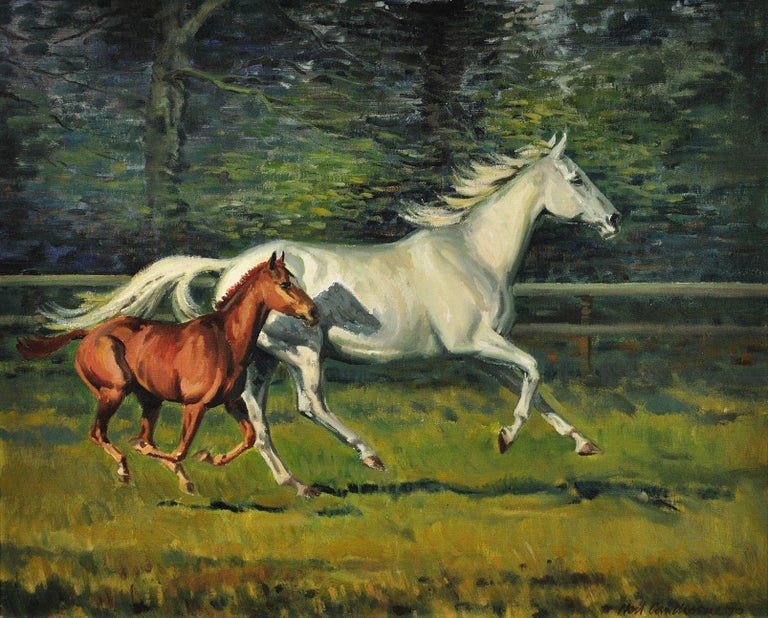 Grey Mare with Foal. Modern British Equestrian Artist. Original Horse Painting. - Black Animal Painting by Neil Cawthorne