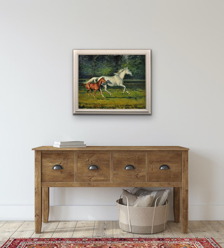 Grey Mare with Foal. Modern British Equestrian Artist. Original Horse Painting. For Sale 2