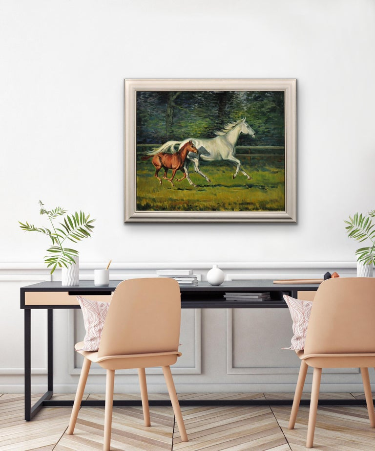 Grey Mare with Foal. Modern British Equestrian Artist. Original Horse Painting. For Sale 3