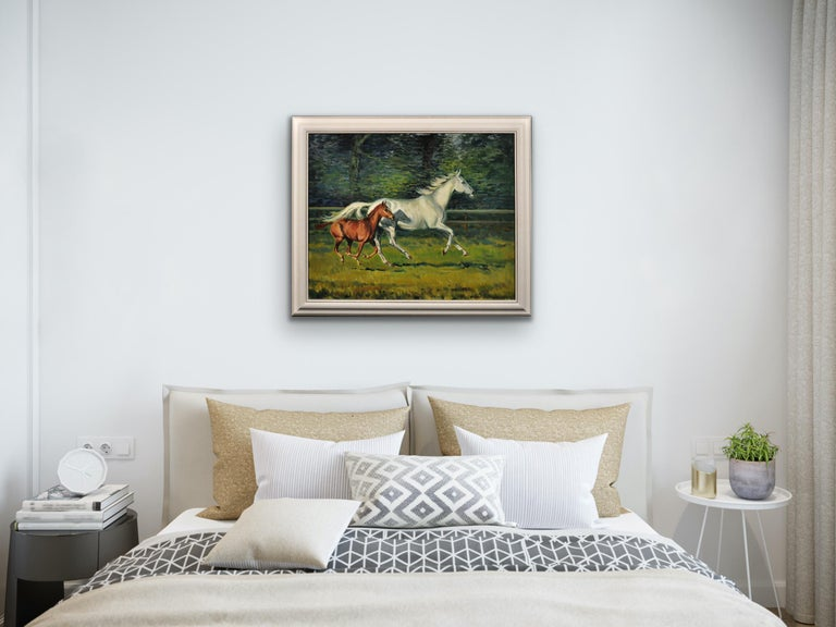 Grey Mare with Foal. Modern British Equestrian Artist. Original Horse Painting. For Sale 4