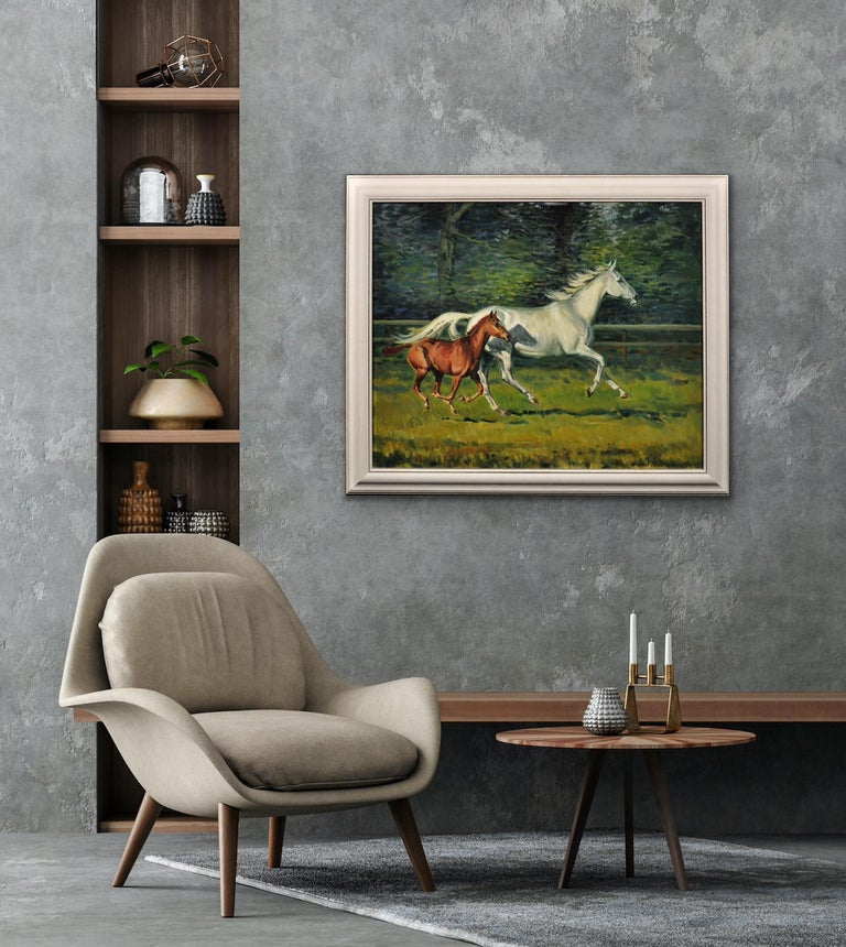 Grey Mare with Foal. Modern British Equestrian Artist. Original Horse Painting. For Sale 5