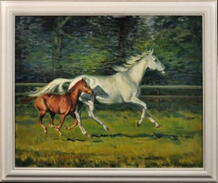 Grey Mare with Foal. Modern British Equestrian Artist. Original Horse Painting.