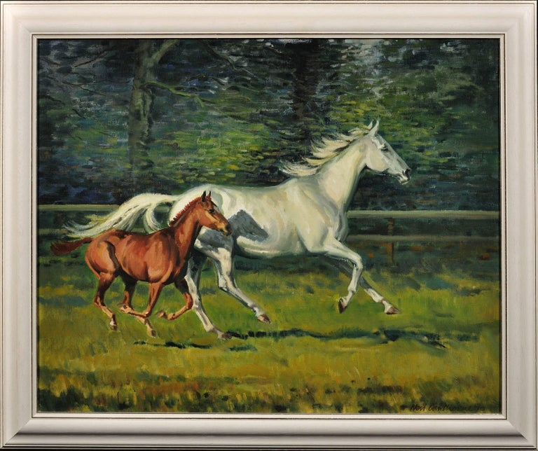 Neil Cawthorne Animal Painting - Grey Mare with Foal. Modern British Equestrian Artist. Original Horse Painting.