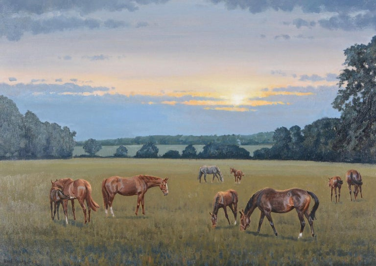 Mares and foals in a landscape - Horses - Brown Animal Painting by Neil Cawthorne