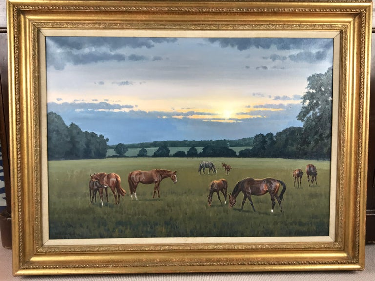 Neil Cawthorne (British b.1936)  Horses : Mares and Foals in a landscape Oil on canvas  Signed lower left  51 x 71cm (20 x 27¾ in)   Neil Cawthorne Horses have always played a large part in Neil's life and he has ridden and drawn them for as long as