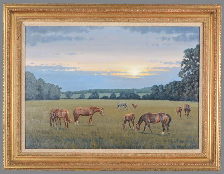 Neil Cawthorne Animal Painting - Mares and foals in a landscape - Horses