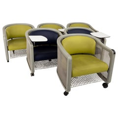 Neil Frankel for Knoll Midcentury Wheeled Office Lounge Chairs, Set of 6