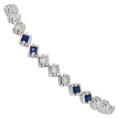 Neil Joseph Diamond and Blue Sapphire Line Bracelet