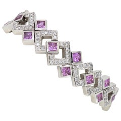 Neil Joseph Geometric Pink Sapphire and Diamond Bracelet