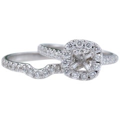 Neil Lane 1.00 Carat Diamond Halo Semi Mount and Band Set in 14 Karat White Gold