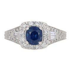 Neil Lane 1.60 Carat Round Cut Sapphire and Diamond Ring 14 Karat Gold Halo