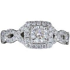 Neil Lane Bridal 1.00 Carat Round Diamond Twisted Ring 14 Karat White Gold