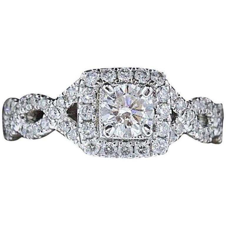 5bd61cf81 Neil Lane Bridal 1.00 Carat Round Diamond Twisted Ring 14 Karat White Gold  For Sale
