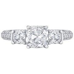 Neil Lane Couture Design Cushion Brilliant-Cut Diamond, Platinum Ring