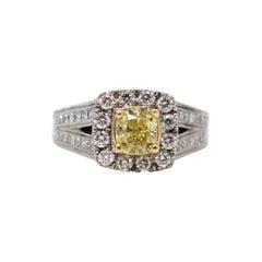 Neil Lane Cushion Cut Fancy Intense Yellow Diamond and Halo Ring 14 Karat Gold