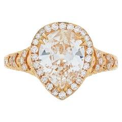 Neil Lane Couture Design Pear-Shaped Diamond, 18 Karat Rose Gold Engagement Ring