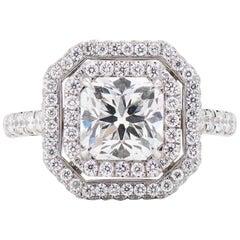Neil Lane Couture Design Square Radiant Diamond, Platinum Engagement Ring