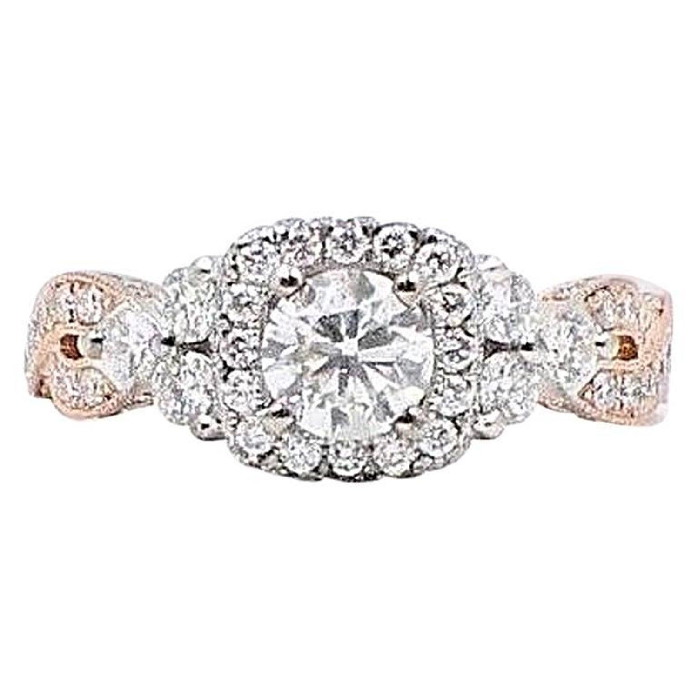 80bcb25936c8b Neil Lane Diamond Engagement Ring 1 5/8 Carat 14 Karat Rose Gold and White  Gold