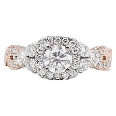 Neil Lane Diamond Engagement Ring 1 5/8 Carat 14 Karat Rose Gold and White Gold