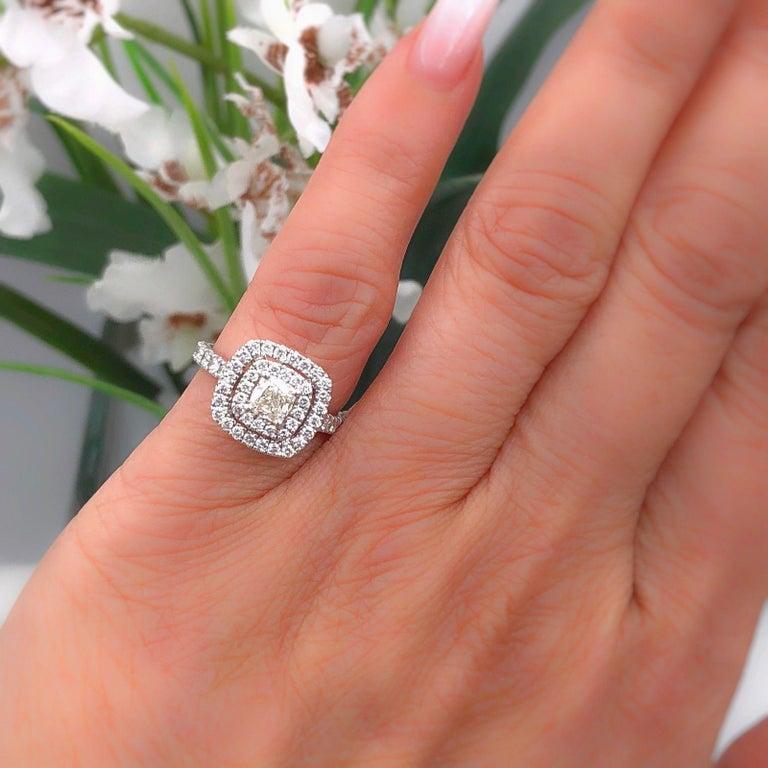 Neil Lane Diamond Engagement Ring Cushion Cut Center 1 1 8 Carat 14 Karat Gold For Sale At 1stdibs