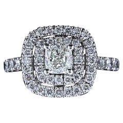 Neil Lane Diamond Engagement Ring Cushion Cut Center 1 1/8 Carat 14 Karat Gold