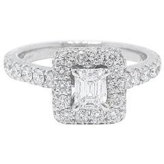 Neil Lane Diamond Engagement Ring Emerald Cut 1.375 Carat in 14 Karat White Gold
