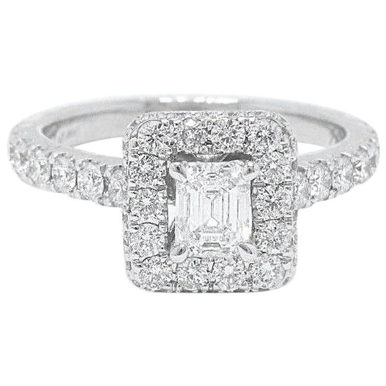 eaf9eec04 Neil Lane Diamond Engagement Ring Emerald Cut 1.375 Carat in 14 Karat White  Gold For Sale
