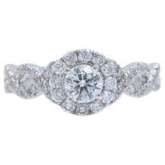 Neil Lane Diamond Engagement Ring Round 1.00 Carat 14 Karat White Gold