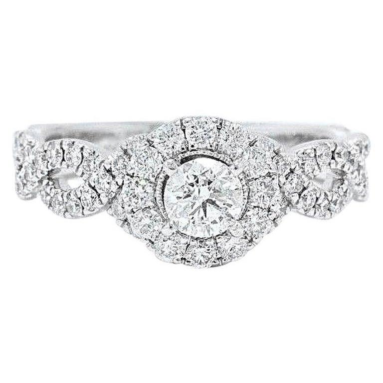71e7c3380 Neil Lane Diamond Engagement Ring Round 1.00 Carat in 14 Karat White Gold  For Sale