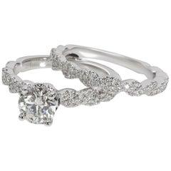 Neil Lane Diamond Engagement Wedding Set in 14 Karat White Gold 1.00 Carat