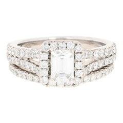 Neil Lane Diamond Halo Ring and Wedding Band 14 Karat White Gold 1.54 Carat