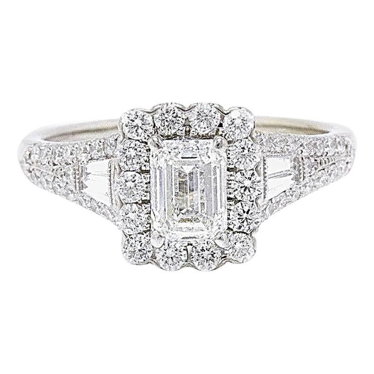 86efd923d Neil Lane Emerald Cut Diamond 1 7/8 Carat Engagement Ring 14 Karat White  Gold