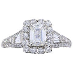 Neil Lane Emerald Diamond Engagement Ring 2 Carat 14 Karat White Gold